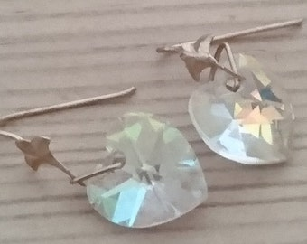vintage crystal heart drop earrings