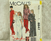 Sleepwear, L XL, McCalls 8847 Pattern for Women, Brooke Shields, Robe, Pajamas, Nightgown, Buttons, Round Neck, 1983 Uncut, Size 18 20