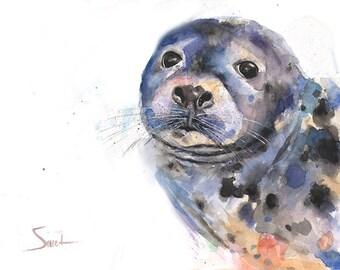 SEAL ART PRINT - watercolor seal painting, sea life art, seal print, sea life decor, sea life print, sea life wall art, harbor seal
