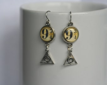 Harry Potter 9 3/4 and Deathly Hallows Dangle Earrings