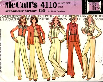 "McCall's 4110  Misses' Unlined Shirt-Jacket And Pants  Bust 38"" UNCUT"