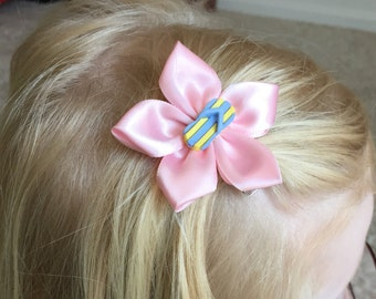 Pink Hair Clip, Hair Bow with Flip Flop Button, Kanzashi, Girl's/Child's