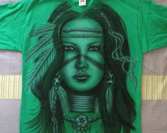"""Custom, Airbrushed, T-Shirt, Indiana, Girl, New!!! Unique """"M"""""""