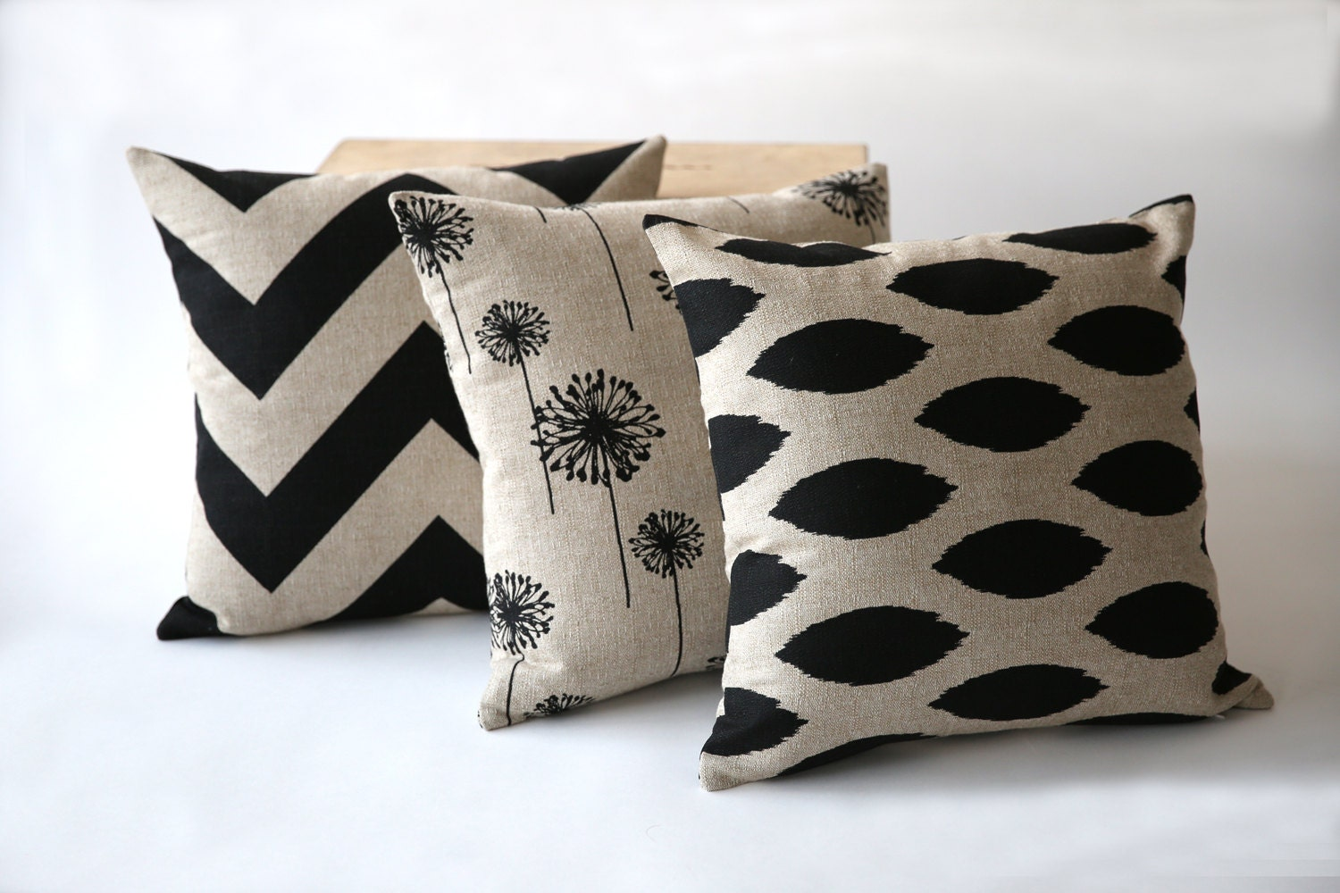 One Decorative Throw Zipper Pillow Cover in Black on by Pillomatic