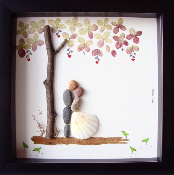 Unique Wedding Gift For Couple- Wedding Pebble Art- Unique Engagement ...