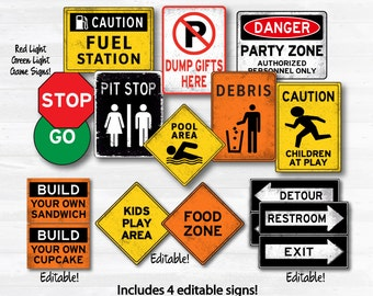 Construction Party Signs - Construction Birthday Party - Construction Signs - INSTANT DOWNLOAD - Edit Signs with Adobe Reader from home NOW!