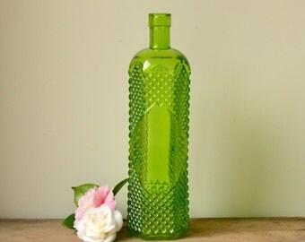 Vintage Lime Green Glass Bottle