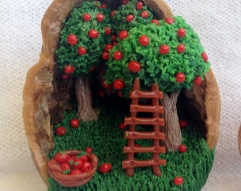Miniature Apple Tree Farm Diorama in Walnut Shell