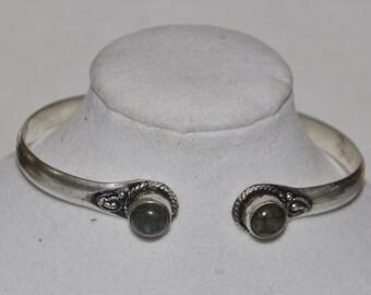 Silver Cuff Bracelet Smoky Quartz #571
