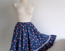 Malco Modes Square Dance Blue Floral Full Sweep Cotton Blend Skirt- Large