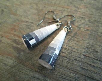Black and Gray Earrings, Paper Bead Earrings, Black and White Ombre Earrings, Grey Earrings, Contemporary Earrings, Black and Gray Jewelry