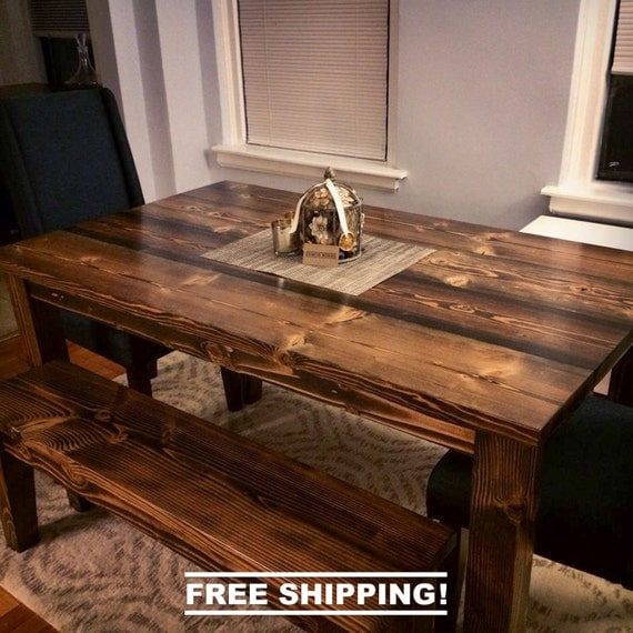 Farmhouse Table Free Shipping Solid Wood Farmhouse by EmmorWorks
