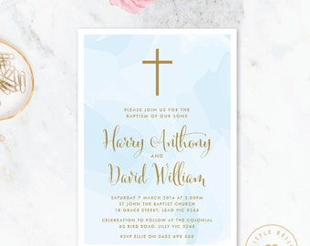 Twin Boy Baptism Invitation Printable / Twin Boy Christening Invite / Cross / Watercolor