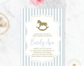 Boy Baby Shower Invitation / Rocking Horse Baby Shower Invite / Blue / Glitter