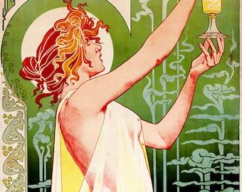 """Henri Privat-Livemont Art Nouveau Poster : """"Absinthe Robette"""" (1896) - Giclee Fine Art Reproduction"""
