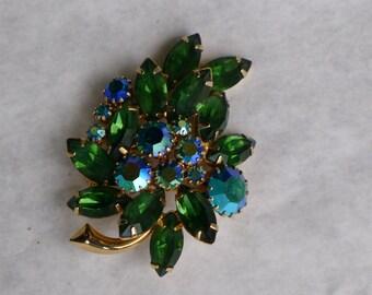 Green and blue leaf-shaped rhinestone brooch  [MV]