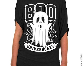 Halloween Ghost - Boo Universcary - Black Slouchy Tee (Small - Plus Sizes)