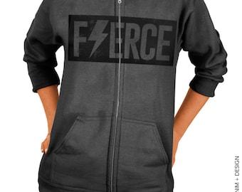 Fierce Zip Up Hoodie - Charcoal Gray Hoodie - Hooded Sweatshirt - Gym Workout Apparel