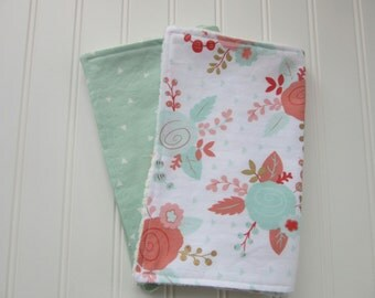 Baby Girl Burp Cloth Set, Set of 2 Burp Cloths: Floral  Burp Cloth and Mint and White Triangle Burp Cloth