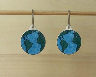 Earth Globe dangle drop earrings, hand drawn illustrated map shrinky dinks, hypoallergenic titanium hooks wires, earth art earrings