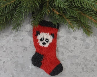 Panda Hand-Knit Christmas Stocking Ornament  **Available to Order**