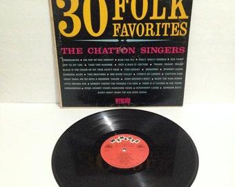 Chatton Singers 30 Folk Favorites Vintage Vinyl Record Album lp 1964 Cameo Parkway Records Wyncote 6W 9072