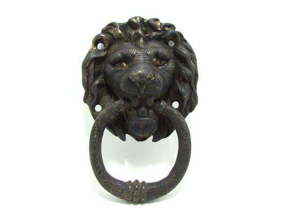 Vintage antique brass lion head door knocker - Lion head brass door knocker ...