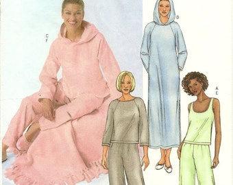 Butterick Misses Lounge-wear Pattern - Hooded Pullover Robe, Top - Blanket - Tank Top - Pull On Pants - Pajamas - Easy - Size XS - S - M