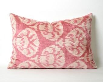 Ikat Pillow Cover, Hand Woven Velvet Ikat Pillow, Ikat throw pillows, Pink Ikat Pillow, Designer pillows, Decorative pillows, Accent pillows