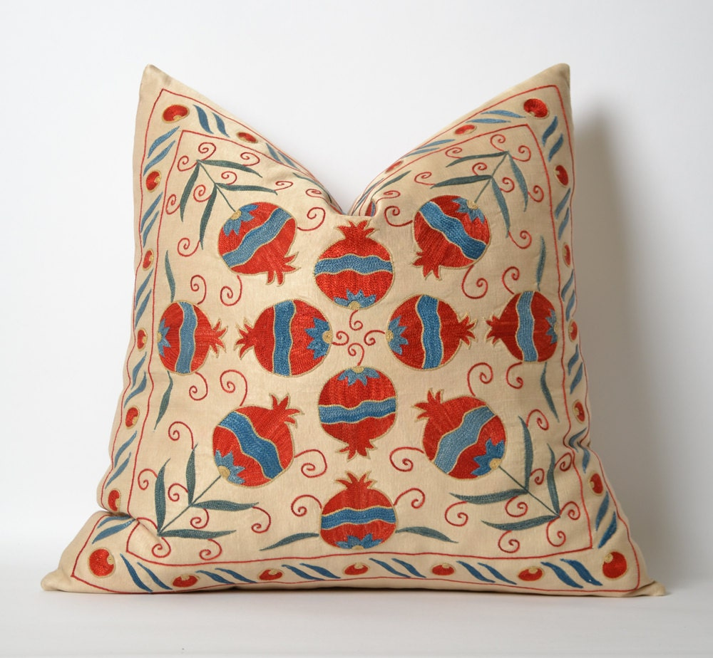 Silk Decorative Pillow Covers : Hand Embroidered Silk Suzani Pillow Cover Decorative Pillow