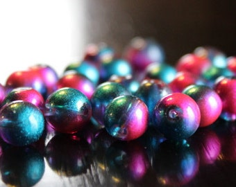 25 glass beads, 8 mm, round and smooth, transparent baking painted, hole 1 mm, blue and pink