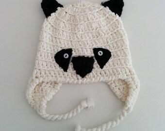 Knit earflap hat Panda