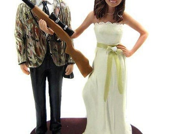 Hunting Bride and Groom Custom Wedding Cake Toppers - Bride and Groom with Rifles, Shotguns, Camo, Camouflaged