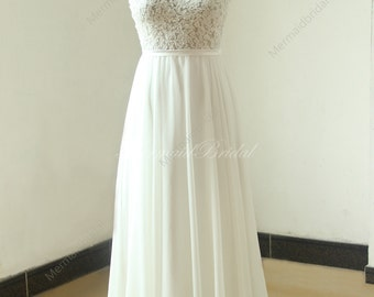 Ivory A line chiffon see thru sheer lace wedding dress with scallop back