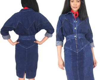 Vintage 80s Dark Denim Blue Jean Pencil Skirt Dress Zipper Detail Avant Garde Glam