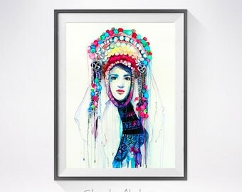Fashion Illustration 5 watercolor painting print, Fashion Illustration, Fashion art, Woman art, Girl Illustration,Bulgarian national costume