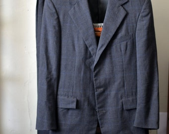 Vintage 1970s RALPH LAUREN POLO Charcoal w. Faint Blue Windowpane 2 Piece Suit Jacket Pants Size 39R Regular