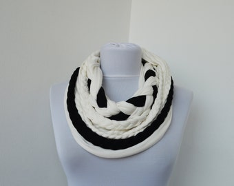 Black White Loop Scarf Infinity Jersey Scarf Partially braided Circle Scarf Scarf Nekclace