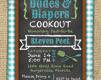 Dudes & Diapers Baby Shower, Birthday/Party Invitation-Printable-Personalized-Cookout-Barbeque-Picnic Cloth,Chalkboard,Grill Out,Wood Frame