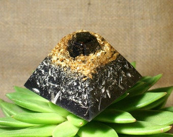 Orgone Pyramid - Black Tourmaline - Feng Shui Decor and Spiritual Gift - Orgone Generator for Root Chakra Energy Healing and Protection