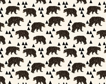 Geo Bear Organic Tunic Dress, Organic Baby Dress, Bear Baby Dress, Tunic Dress, Modern Kids Clothes, Organic Black Bear Baby Dress