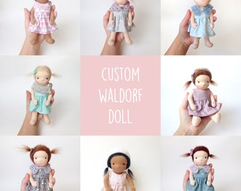 "Custom Waldorf doll -  7.5"" handmade Steiner doll made with natural materials. Made to order"
