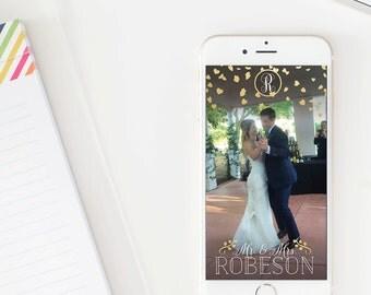 Monogram with Confetti Hearts Wedding Snapchat Geofilter File