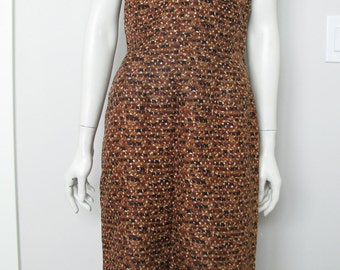 Vintage 60' Surplice Neckline Novelty Print Rayon Sheath - Wiggle Dress - Size Medium