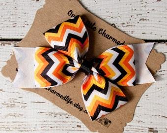 SALE, Halloween Hair Bow, Halloween Hairbow, Halloween Hair Clip, Black and Orange Hair Bow, Halloween Chevron Hair Bow, Fall Hair Bow