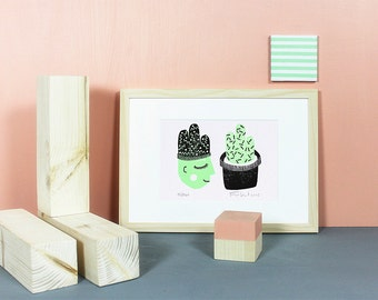 Kaktusdame Damenkaktus | Linoldruck, Linolschnitt, Druck, Print, Kaktus, Pflanzen, Memphis, Sukkulenten, grüner Daumen, mint, schwarz, A5