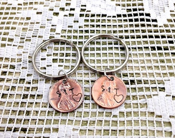 Penny Keychain,First Anniversary, Wedding, 2 set, Personalized presents, Hand Stamped, Gifts for Him, Couples Key Chains, Husband Gifts, 7th