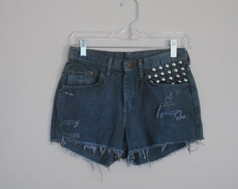 Denim Jean Shorts with Studding and Destruction // Size Four // Deep Blue to Grey Color