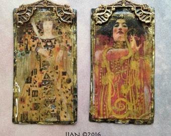 Klimt Tarot Empress and King Pendant-(1)- Golden Aged Pendant-Tarot, Empress, King, Vintage Style Resin Pendant, amber, gold, charm