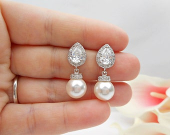 Cubic Zirconia Teardrop And Swarovski Pearl Bridal Earrings CZ Teardrop Bridal Earrings Pearl Bridal Earrings Bridesmaid Gift FREE US Ship